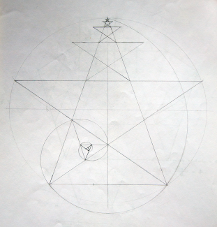 Pentagram with golden spiral