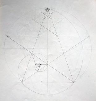 Pentagram with golden spiral